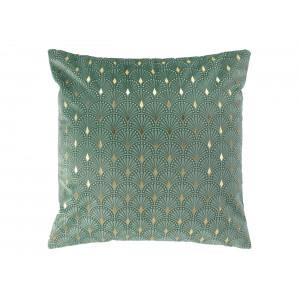 Krásna zelená zamatová obliečka na vankúš 40 x 40 cm