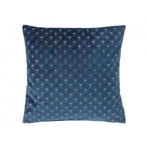 Tmavo modrá zamatová obliečka na vankúš s krásnym zlatým motívom 40 x 40 cm