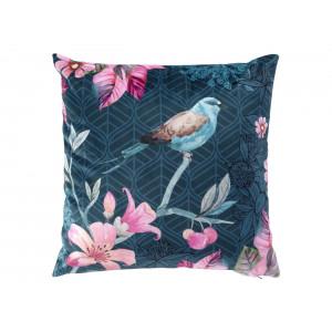 Modrá zamatová obliečka na vankúš s vtáčikom 40 x 40 cm