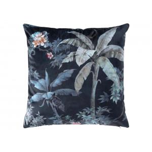Modrá dekoračná obliečka na vankúš s motívom paliem 40 x 40 cm