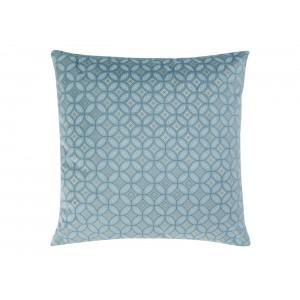 Modrá zamatová vzorovaná obliečka na vankúš 40 x 40 cm