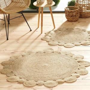 Brilantný okrúhly koberec z jutoviny priemer 120 cm