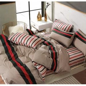 Moderné béžovo červené bavlnené posteľné obliečky