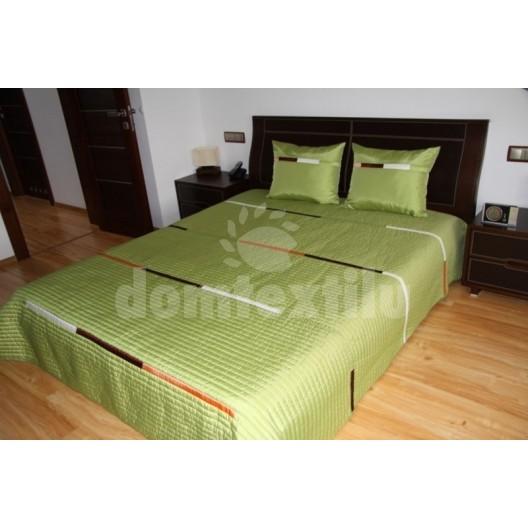 Luxusný prehoz na posteľ zelený s oranžovo hnedými a bielými prúžkami