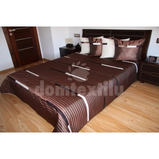 Luxusný prehoz na posteľ hnedý s čierno bielými prúžkami