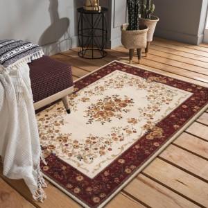 Rustikálny béžovo červený koberec s kvetmi