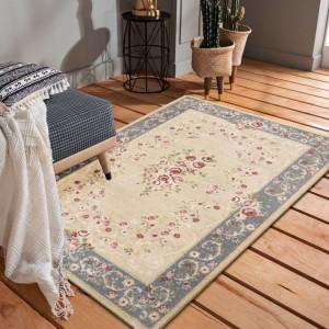 Ornamentálny sivo krémový vintage koberec