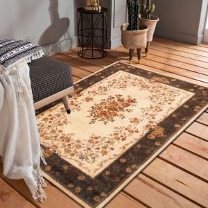 Originálny hnedo krémový vintage koberec do obývačky