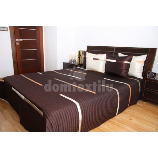 Luxusný prehoz na posteľ čokoládovo hnedý s bielými pásmi