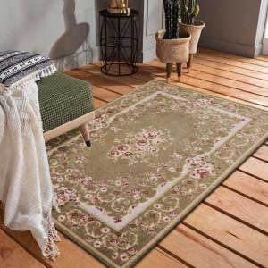 Kvalitný koberec v krásnej capuccino farbe s ružovými kvetmi