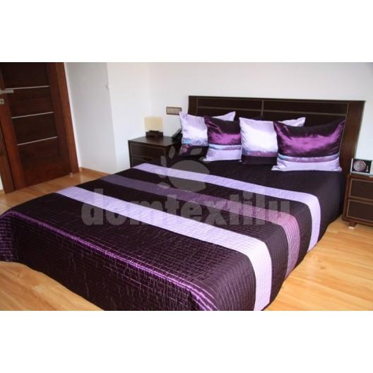 Luxusný prehoz na posteľ s fialovými pásmi