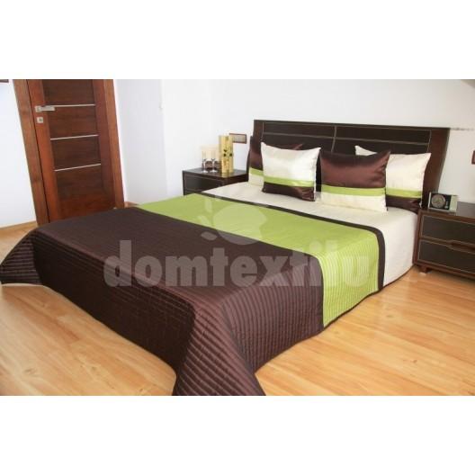 Luxusný prehoz na posteľ hnedo krémovo zelený