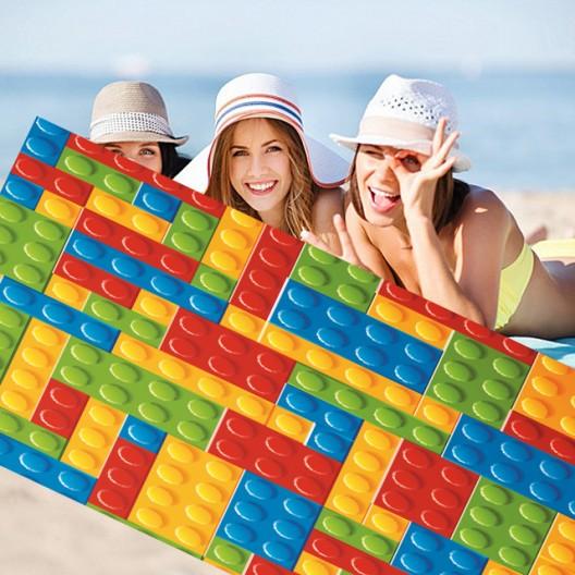 Plážová farebná osuška s motívom lego kociek 100 x 180 cm