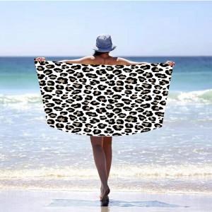 Biela plážová osuška s motívom panther 100 x 180 cm