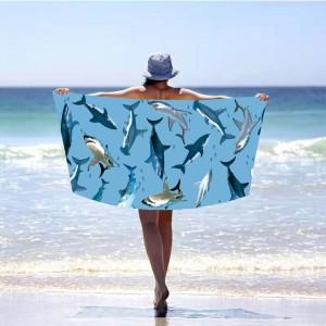 Moderná modrá pálžová osuška so žralokmi 100 x 180 cm