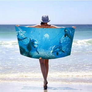 Moderná modrá plážová osuška delfín 100 x 180 cm