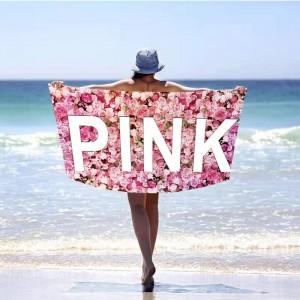 Romantická ružová plážová osuška s motívom ruží 100 x 180 cm