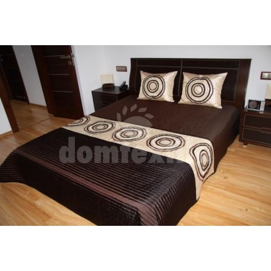 Luxusný prehoz na posteľ hnedo béžový s krúžkami