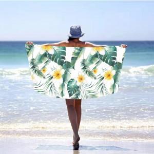 Krásna bielo zelená plážová osuška 100 x 180 cm