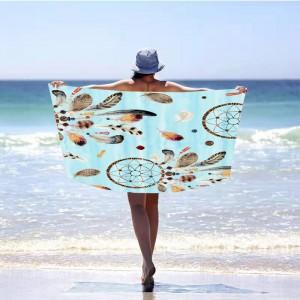 Modrá plážová osuška s motívom lapač snov 100 x 180 cm