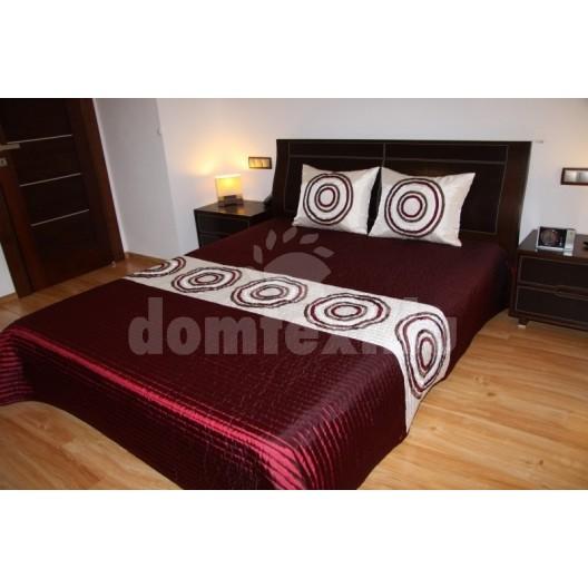 Luxusný prehoz na posteľ béžovo bordový s krúžkami