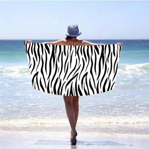 Trendy biela plážová osučka zebra 100 x 180 cm