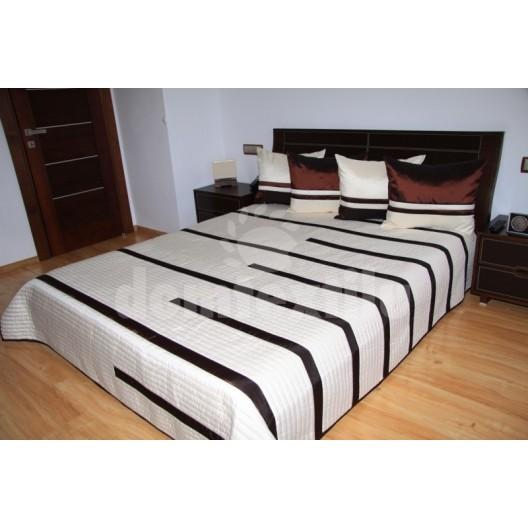 Luxusný prehoz na posteľ béžový s čokoládovými prúžkami