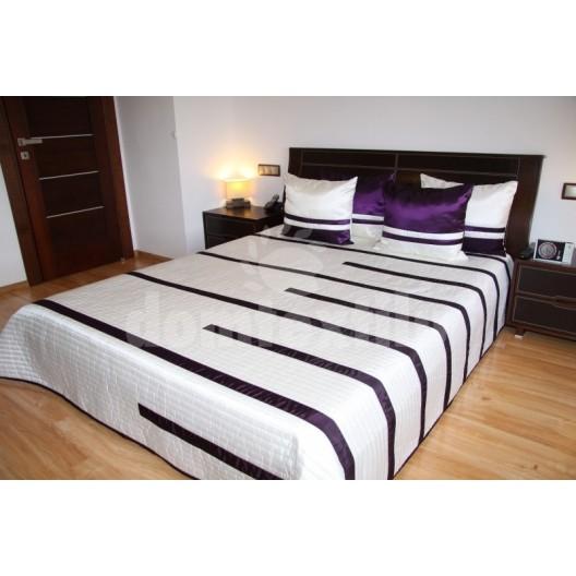 Luxusný prehoz na posteľ béžový s fialovými prúžkami