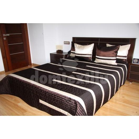 Luxusný prehoz na posteľ čokoládový s béžovými prúžkami