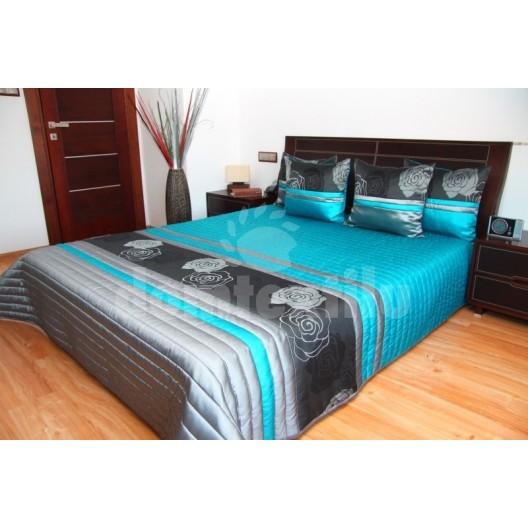 Luxusný prehoz na posteľ modro sivá s kvetmi