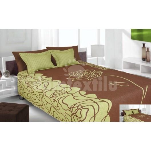 Luxusný obojstranný prehoz na posteľ zeleno hnedý