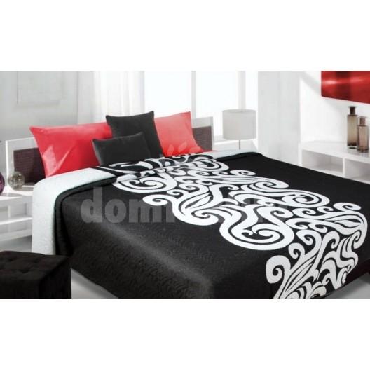 Luxusný obojstranný prehoz na posteľ čierný s bielym vzorom