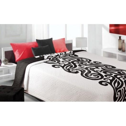 Luxusný obojstranný prehoz na posteľ biely s čiernym motívom