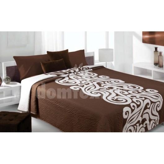 Luxusný obojstranný prehoz na posteľ hnedý s bielym motívom
