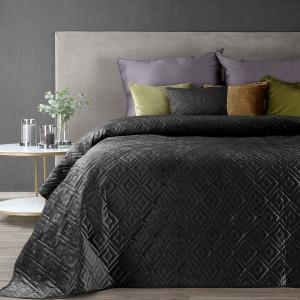 Luxusny čierny prehoz na posteľ prešívaný módnym reliéfnym vzorom