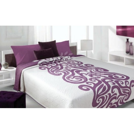 Luxusný obojstranný prehoz na posteľ biely s fialovým ornamentom