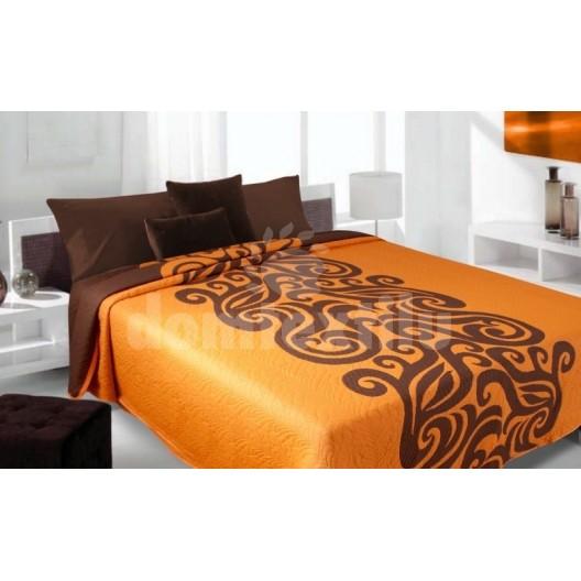 Luxusný obojstranný prehoz na posteľ oranžový s hnedými vzormi