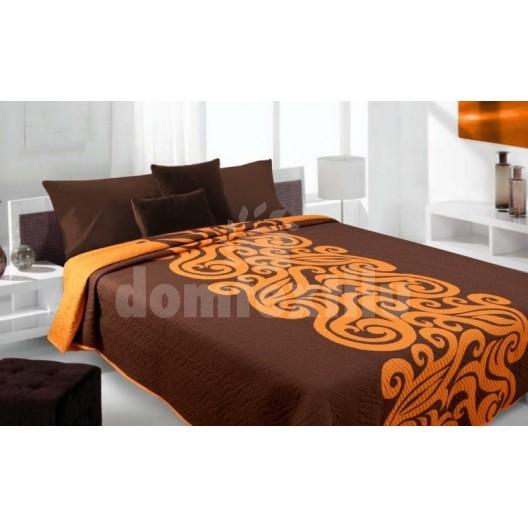 Luxusný obojstranný prehoz na posteľ hnedý s oranžovými ornamentami