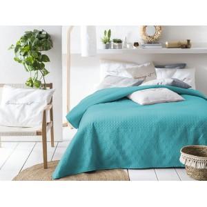 Prehoz na posteľ v tyrkysovej a sivej farbe 220 x 200 cm SKLADOM