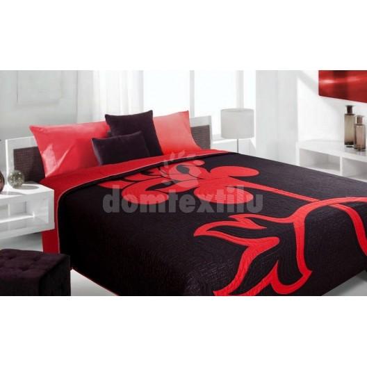 Luxusný obojstranný prehoz na posteľ čierny s červeným vzorom