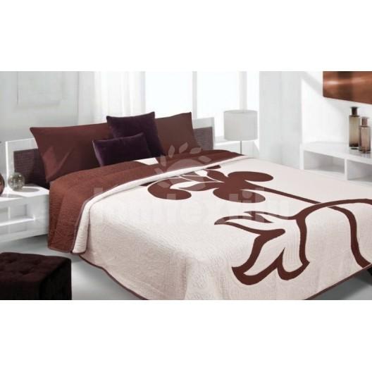 Luxusný obojstranný prehoz na posteľ biely s hnedým kvetom
