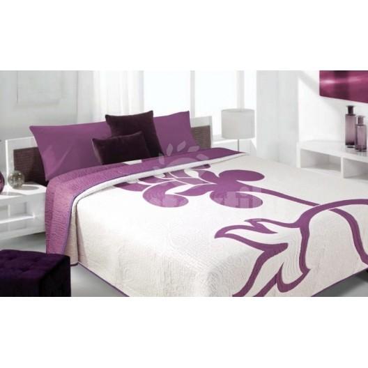 Luxusný obojstranný prehoz na posteľ biely s fialovým motívom