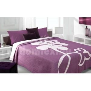 Luxusný obojstranný prehoz na posteľ s bielym kvetom a fialovým pozadím