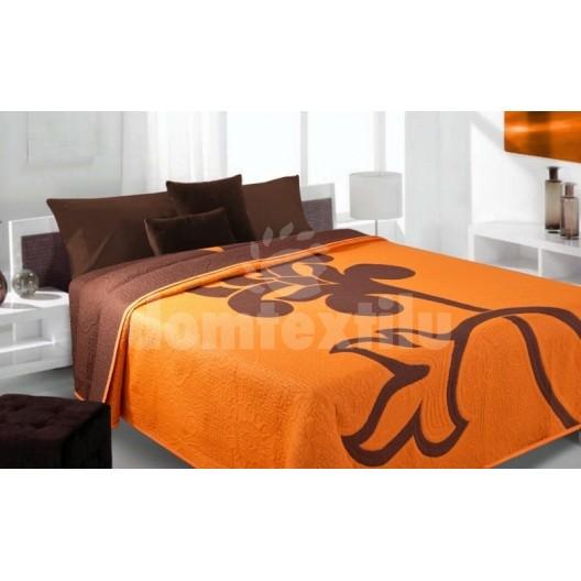 Luxusný obojstranný prehoz na posteľ oranžový s hnedým kvietkom