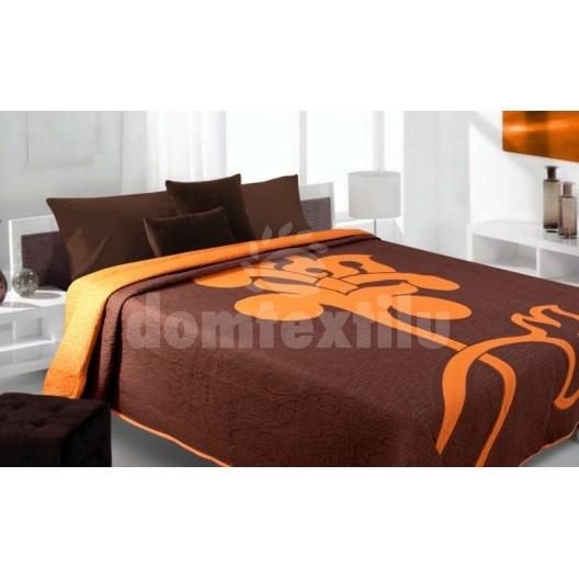 Luxusný obojstranný prehoz na posteľ hnedý s oranžovým vzorom
