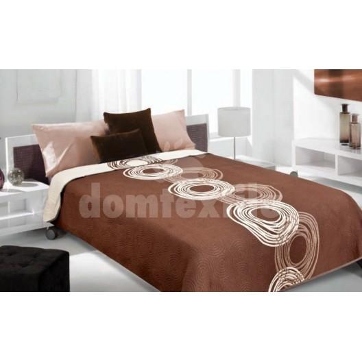 Luxusný obojstranný prehoz na posteľ hnedý s bielymi krúžkami