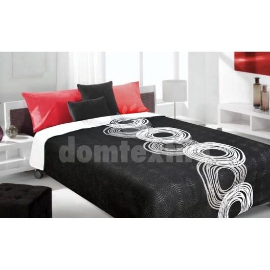 Luxusný obojstranný prehoz na posteľ čierny s bielymi krúžkami