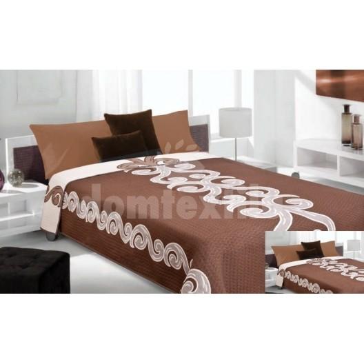 Luxusný obojstranný prehoz na posteľ hnedý s bielym ornamentom