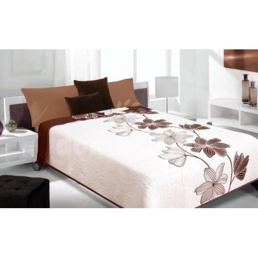 Luxusný obojstranný prehoz na posteľ biely s hnedými ornamentami