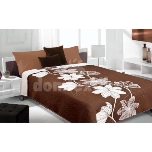 Luxusný obojstranný prehoz na posteľ hnedý s bielymi kvietkami